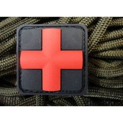 3D PVC Patch Cross Black and Red (101 Inc)
