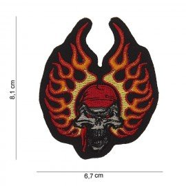 101 INC Patch Skull Bandana Flames 8x6cm (101 Inc) AC-WP4423041013 Patch en tissu