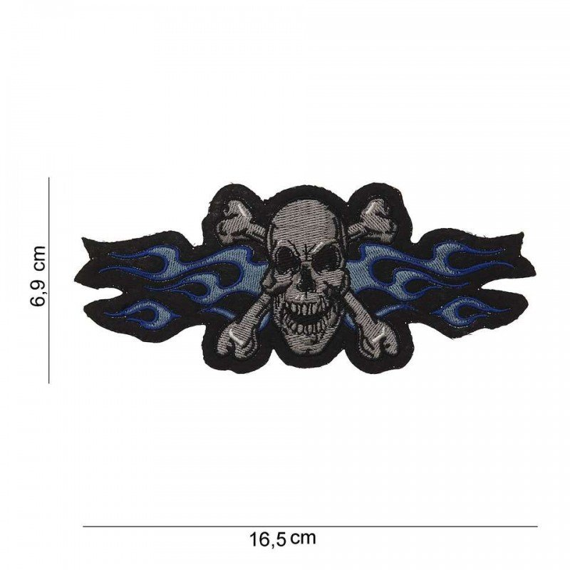 Patch Skull Bones Blue Flames