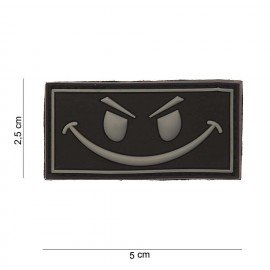 3D Evil Smiley Gray PVC Patch (101 Inc)