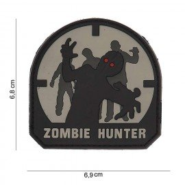 3D PVC Zombie Hunter parche negro y gris (101 Inc)