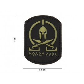 101 INC Patch 3D PVC Molon Labe Spartan Blanc & Noir (101 Inc) AC-WP4441103566 Patch en PVC