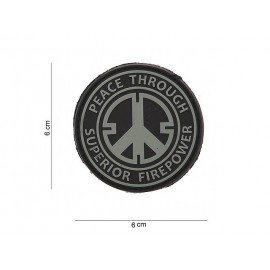 3D PVC Peace Through Fire Patch Grigio e Nero (101 Inc)