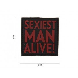 Patch in PVC 3D Sexiest Man Alive Red & Black (101 Inc)
