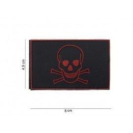 Parche de PVC rojo y negro pirata