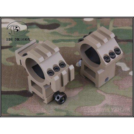 Emerson Anneau Moyen 30mm (Set de 2) w/ Triple Rail Desert (Emerson) AC-EMBD9168A Anneaux de montage