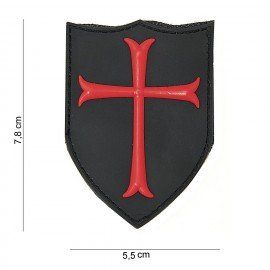 3D PVC Crusader Patch Rot & Schwarz (101 Inc)
