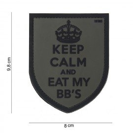 3D PVC Keep Calm Patch Nero e Grigio (101 Inc)