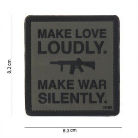 Patch 3D PVC Make Love Loudly Noir & Gris (101 Inc)