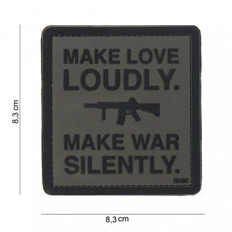 101 INC Patch 3D PVC Make Love Loudly Noir & Gris (101 Inc) AC-WP444180384699A Patch en PVC