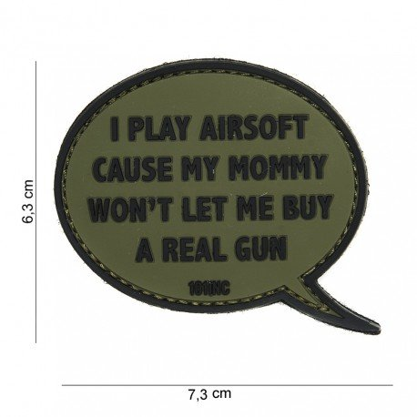 101 INC Patch 3D PVC I play Airsoft OD (101 Inc) AC-WP4441303878 Patch en PVC