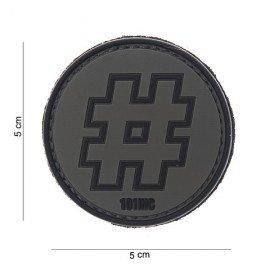 PVC Hashtag 3D Patch # Black & Gray (101 Inc)
