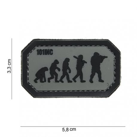 101 INC Patch 3D PVC Airsoft Evolution Gris / Noir AC-WP4441003926 Patch en PVC