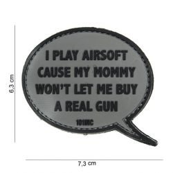 3D PVC Patch Ich spiele Airsoft Grey (101 Inc)