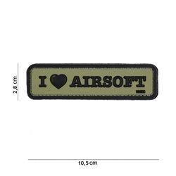 Patch 3D PVC I love Airsoft OD (101 Inc)