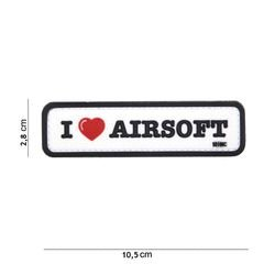Patch 3D PVC I love Airsoft Noir & Blanc (101 Inc)