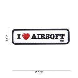 Patch 3D PVC I love Airsoft Noir & Blanc (101 Inc)