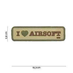 Patch 3D PVC I love Airsoft Desert (101 Inc)