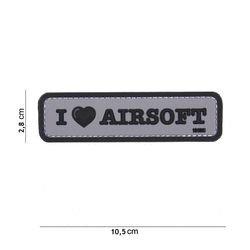 3D PVC Patch Ich liebe Airsoft Black & Grey (101 Inc)