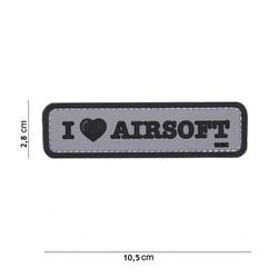 Patch 3D PVC I love Airsoft Noir & Gris (101 Inc)