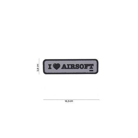 101 INC Patch 3D PVC I love Airsoft Noir & Gris (101 Inc) AC-WP4441304082 Patch en PVC
