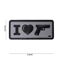 Patch 3D PVC I love my Glock Gris (101 Inc)