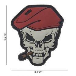 3D Parche PVC Boina roja cráneo cigarro (101 Inc)