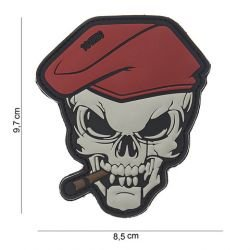Patch 3D PVC Beret Rouge Skull Cigare (101 Inc)