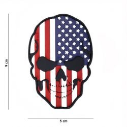 Patch 3D PVC Skull Drapeau USA (101 Inc)