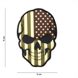 Parche de baja visibilidad de EE.UU. con bandera de calavera de PVC 3D (101 inc.)