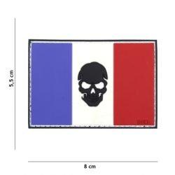 3D PVC Flagge Frankreich Schwarz Schädel Patch (101 Inc)