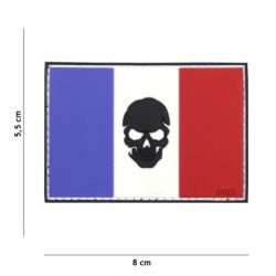Parche de cráneo negro Francia bandera de PVC 3D (101 inc.)