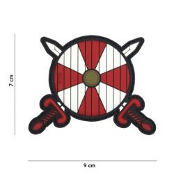 Parche de PVC rojo Viking Shield & Sword 3D (101 Inc)