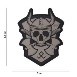 Patch 3D PVC Viking w/ Haches Gris (101 Inc)