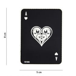 Patch 3D PVC Carte AS de Coeur Noir (101 Inc)
