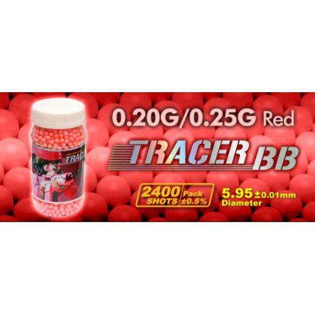 G&G Bouteille 0,25g Fluo Rouge Traçante de 2400 Billes (G&G) AC-GGS10733 Billes 6mm / 8mm