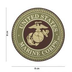 Parche de PVC 3D del Cuerpo de Marines de EE. UU. Marrón (101 Inc)