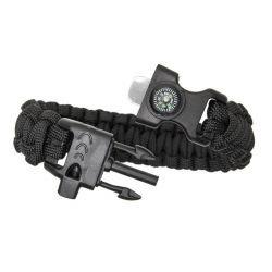 """Bracelet Paracorde """"Survie"""" w/ Boussole + Sylex Noir (Fibex)"""