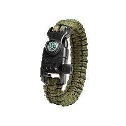 """Bracelet Paracorde """"Survie"""" w/ Boussole + Sylex OD (Fibex)"""
