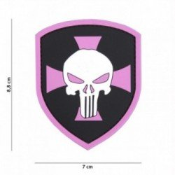 Patch 3D PVC Shield Punisher Cross Rose (101 Inc)