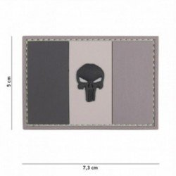 3D PVC Patch Flagge Frankreich Punisher Grau (101 Inc)