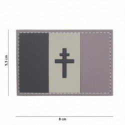 Patch 3D PVC Drapeau Français Croix Lorraine Gris (101 Inc)