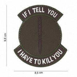 Patch 3D PVC If I tell you Marron & Gris (101 Inc)