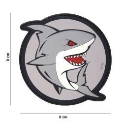 3D PVC Shark Attack Patch Grau / Rot (101 Inc)