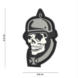 Patch 3D PVC Skull Casque à pointe WWI Gris (101 Inc)