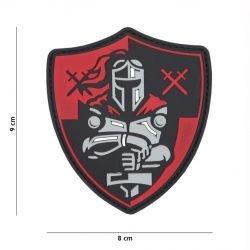 Parche de PVC 3D Knight Shield rojo / negro (101 inc.)