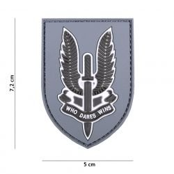 PVC 3D Patch Who Dares Wins Grey (101 Inc)