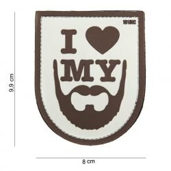 Patch 3D PVC I Love My Beard Marron (101 Inc)