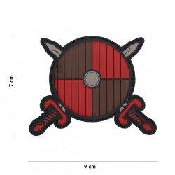 Parche de PVC, escudo vikingo y espada marrón (101 inc.)