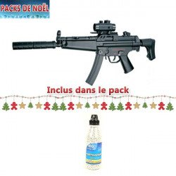 Pack Noel n°12 : Fusil MP5 A5 0.5 Joules + Silencieux + Point Rouge + BB's